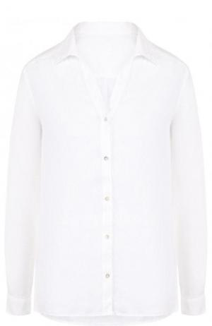 Однотонная льняная блуза 120% Lino. Цвет: белый