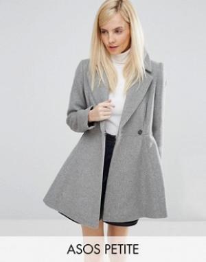 ASOS Petite Короткое расклешенное пальто с добавлением шерсти большим воротником. Цвет: серый