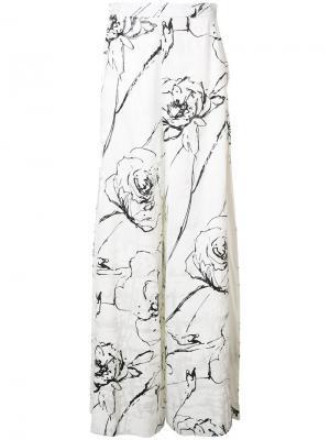 Брюки-палаццо с разрезами Christian Siriano. Цвет: белый
