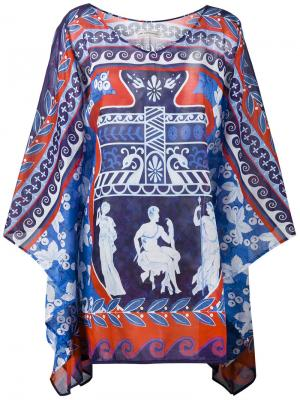 Пончо с принтом Bluebird Mary Katrantzou. Цвет: синий