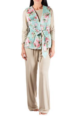 Комплект: брюки, топ и жилет MONNA MURR. Цвет: бежево-зеленый