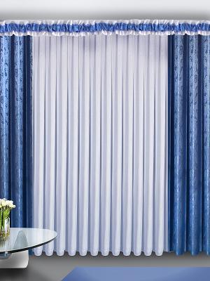 Комплект штор ZLATA KORUNKA. Цвет: синий, белый