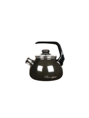 Чайник 2,0 л, со свистком, СтальЭмаль. Цвет: серый
