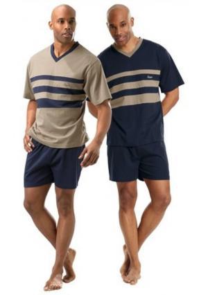 Пижама с шортами, 2 штуки LE JOGGER. Цвет: темно-синий+бежевый