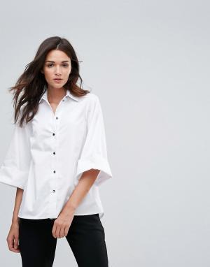 Closet London Рубашка с широкими рукавами. Цвет: белый
