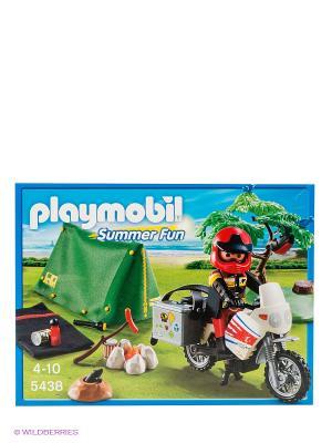 Игровой набор Мотоциклист и складная палатка Playmobil. Цвет: зеленый, красный, черный