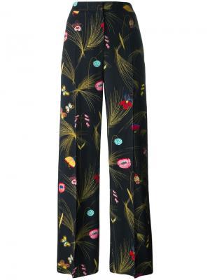 Брюки с цветочным рисунком Fendi. Цвет: чёрный