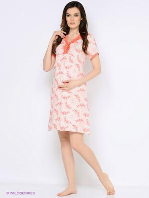 Ночная сорочка для беременных и кормления 40 недель. Цвет: коралловый