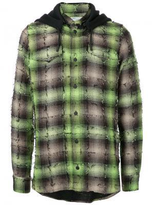 Легкая куртка в клетку Off-White. Цвет: зелёный
