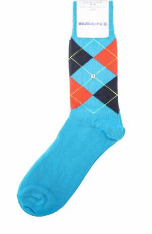 Хлопковые носки King Burlington. Цвет: бирюзовый
