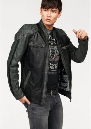 Кожаная куртка BRUNO BANANI. Цвет: черный/зеленый