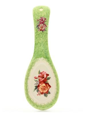 Подставка под ложку Весенний букет на салатовом Elan Gallery. Цвет: салатовый, красный