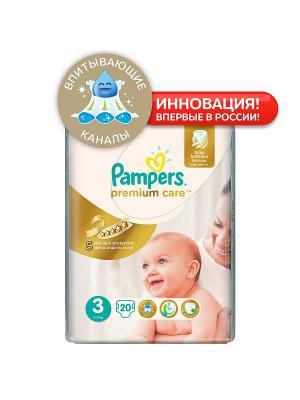Подгузники Pampers Premium Care 5-9 кг, 3 размер, 20 шт. Цвет: белый