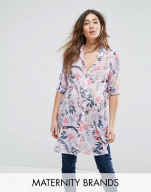 New Look Maternity Удлиненная рубашка для беременных с цветочным принтом Materni. Цвет: фиолетовый