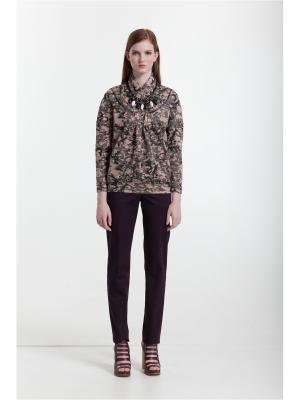 Блузка LO. Цвет: коричневый