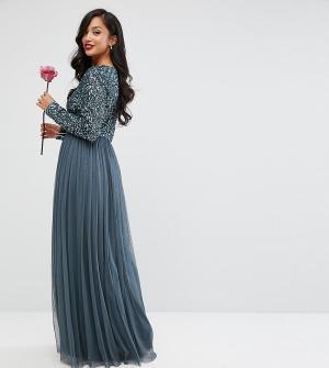 Maya Petite Платье макси с длинными рукавами, пайетками и юбкой из тюля Petit. Цвет: синий