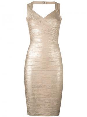 Облегающее металлизированное платье Hervé Léger. Цвет: металлический