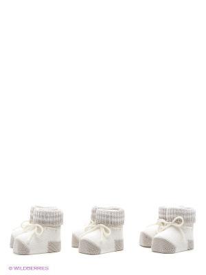 Пинетки, 3 пары CHICCO. Цвет: бежевый