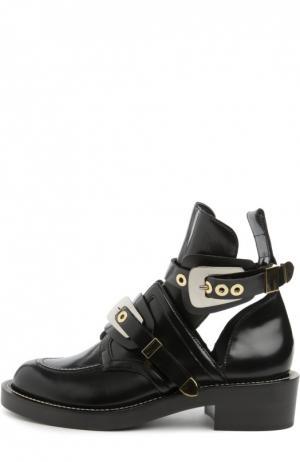 Кожаные ботинки с ремешками Balenciaga. Цвет: черный