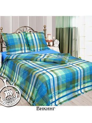 Постельное белье Евро Sova and Javoronok. Цвет: синий, белый, зеленый