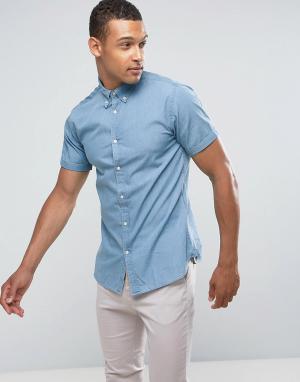 Jack & Jones Узкая джинсовая рубашка-премиум. Цвет: синий