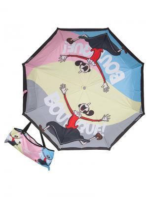 Зонт складной Moschino 7100-OCA Olivia Boutique Multi. Цвет: светло-голубой,светло-серый,светло-желтый