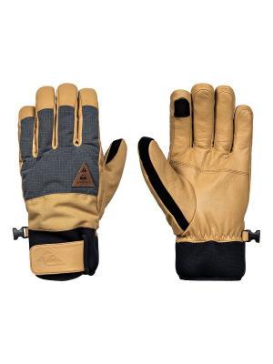 Перчатки Quiksilver. Цвет: золотистый, светло-бежевый, черный