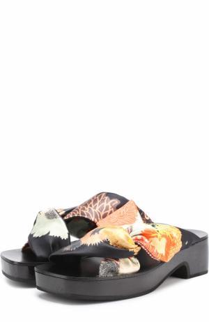 Атласные шлепанцы с принтом Dries Van Noten. Цвет: разноцветный