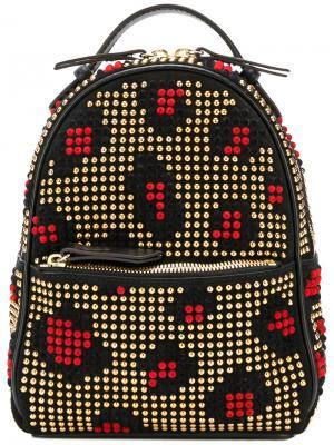 Леопардовый рюкзак с заклепками Les Petits Joueurs. Цвет: чёрный