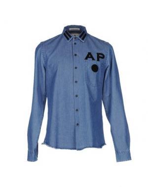 Джинсовая рубашка ANDREA POMPILIO. Цвет: синий
