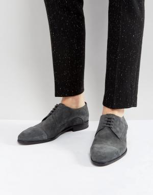 HUGO Серые замшевые туфли дерби на шнуровке. Цвет: серый