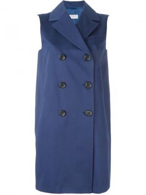 Двубортное пальто без рукавов Alberto Biani. Цвет: синий