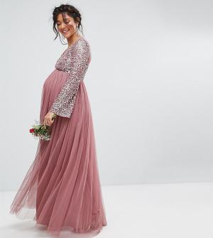 Maya Maternity Декорированное пайетками платье макси с длинными рукавами и V-образным. Цвет: фиолетовый