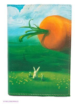 Обложка для автодокументов Заяц и морковка Mitya Veselkov. Цвет: зеленый, голубой