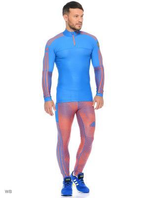 Тайтсы Adidas. Цвет: голубой, оранжевый