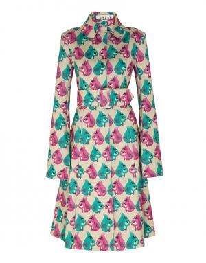 Пальто с принтом A.W.A.K.E.. Цвет: желтый, розовый, зеленый