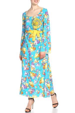 Платье макси Adzhedo. Цвет: голубой, тюльпаны