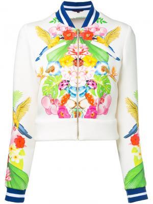 Куртка-бомбер с тропическим рисунком Manish Arora. Цвет: белый