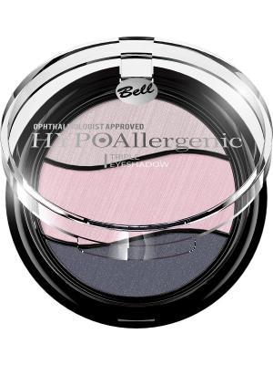 Тени для век трехцветные гипоаллергенные Bell Hypoallergenic Triple Eyeshadow , Тон 05. Цвет: светло-бежевый, бледно-розовый, синий