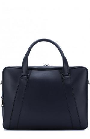 Кожаная сумка для ноутбука с плечевым ремнем Brioni. Цвет: темно-синий