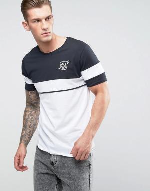 SikSilk Облегающая черная футболка в стиле ретро. Цвет: белый