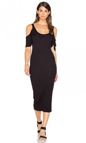 Стрейчевое шелковое платье в рубчик с рукавами-колокол Enza Costa. Цвет: черный