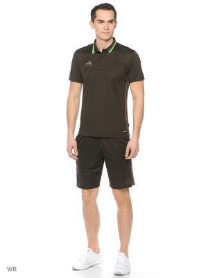 Поло Con16 Cl Polo Nbrown/Branch Adidas. Цвет: темно-коричневый