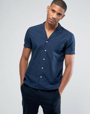 Esprit Рубашка узкого кроя с короткими рукавами и кубинским воротником. Цвет: темно-синий