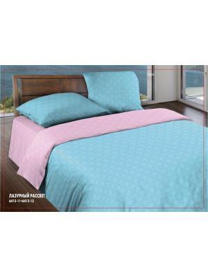 Комплект постельного белья 1.5 бязь Лазурный рассвет Wenge. Цвет: бирюзовый, розовый