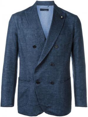 Тканый двубортный пиджак Lardini. Цвет: синий