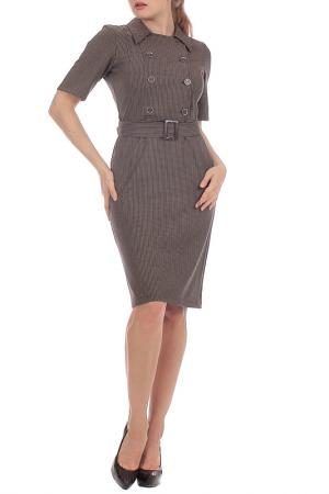 Приталенное платье с поясом Lamiavita. Цвет: коричневый