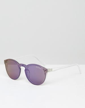 Black Phoenix Круглые солнцезащитные очки с зеркальными стеклами. Цвет: синий