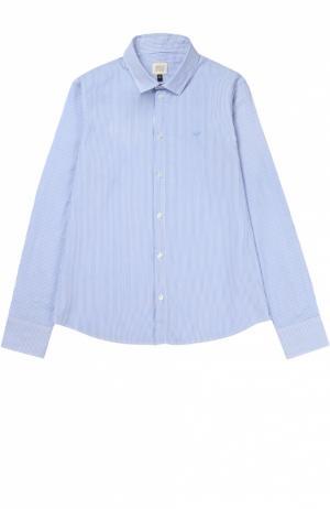 Рубашка из хлопка с рисунком в полоску Giorgio Armani. Цвет: голубой