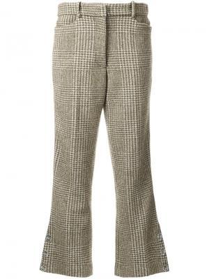 Расклешенные брюки в ломаную клетку Simone Rocha. Цвет: зелёный